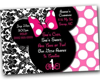 Minnie Mouse Invitations, Minnie Mouse Birthday, Pink Minnie Mouse invitations, Minnie Mouse party, Minnie Mouse Thank you card, Damask