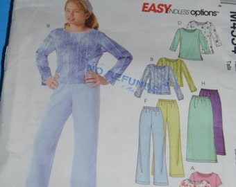 McCall's 4554 Girls Tops Pants and Skirt all in two lengths Sewing Pattern - Sizes 12 14 16