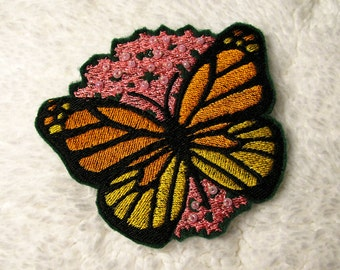 Monarch Butterfly Patch - Embroidered Monarch on Pink Milkweed Iron-On Patch - Womens Accessory - Beaded Milkweed - Butterfly Patch