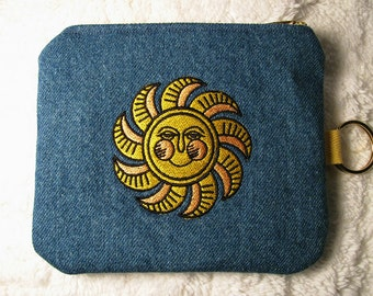Small Denim Purse with Key Ring -  Embroidered Smiling Sun Small Purse, Key Fob - Yellow, Black Sun Small Blue Denim Purse - Gift for Her