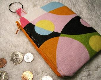 Retro Style Large Coin Purse -  Retro Home Decor Print Change Purse - Pink, Black, Green, Yellow, Orange, White, Blue Dots Zippered Purse