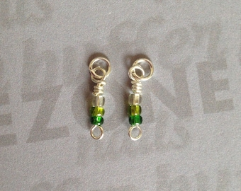 Green And Clear Beaded Nail Dangle / Charm