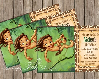 Tarzan II Jungle Birthday Wild Safari Invitation Young Baby Toddler Tarzan
