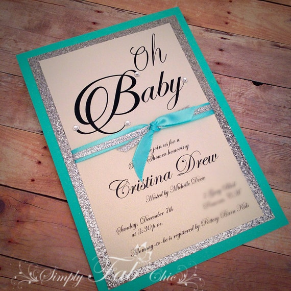 handmade tiffany turquoise silver glitter baby shower invitation