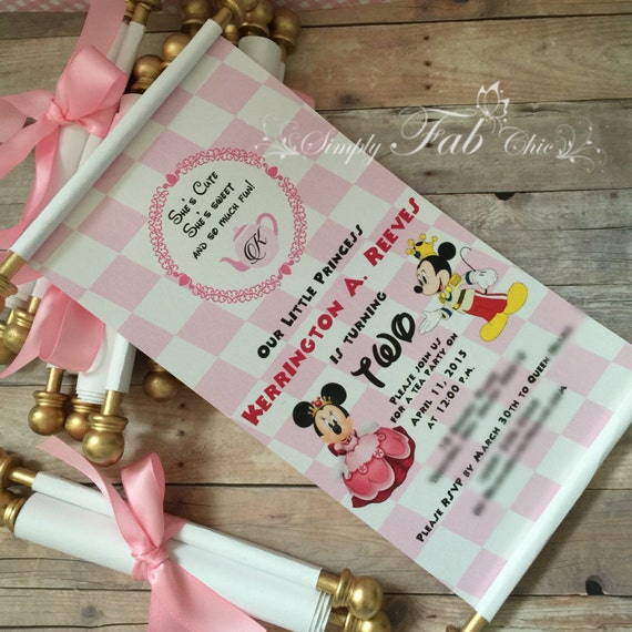 Royal Tea Party Princess Minnie Mouse Scroll Invitation – Handmade Tea Party Invitations