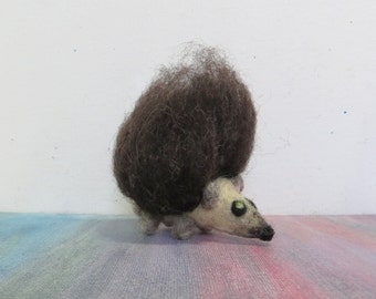 Hedgehog with an Afro - Poofy Hair Happy Hedgy Hog - Miniature Natural Wool Animal Figurine - Made to Order
