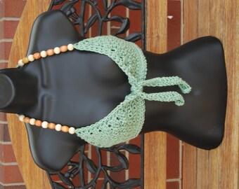 Beaded Mint Green Hippie Crochet  Bikini Halter Tie- Front Festival Top