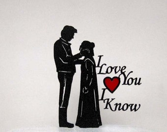 Wedding Cake Topper - StarWars Leia & Hans Solo 2 with a Red Heart