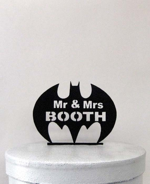 Custom Wedding Cake Topper - Batman symbol with Mr & Mrs name