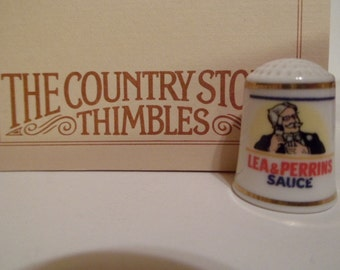 Franklin Mint Country Store Advertising Porcelain Thimble Lea & Perrins