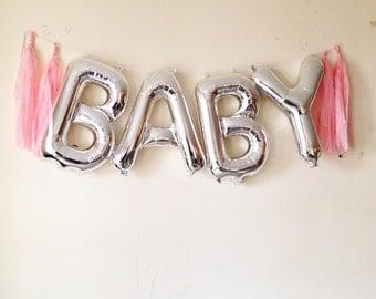 Foil letter/number balloon garland with tassels babyshower wedding parties birthdays