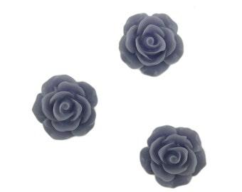Set of 12 Dusty Lavender Rose Blossom Resin Flower Flat Back Kawaii Cabochon Decoden PF5