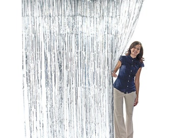 3' x 8' Silver Foil Metallic Fringe Curtain Photo Backdrop Party Decoration Wall Hanging Tinsel Christmas Hanukkah New Year's Eve
