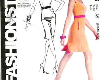 Summer Tank Dress McCalls 285 Size 6-14 Bust 30.5-36 Scoop Neck Dress With Side Seam Pockets Back Kick Pleat 2000 Style Pattern Uncut