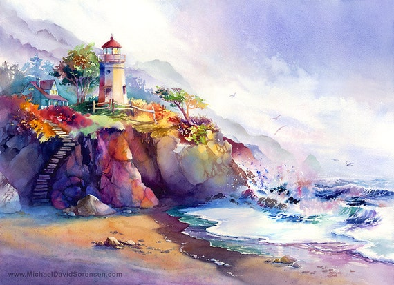 Coastal colors lighthouse watercolor painting print colorful for Beautiful painting images