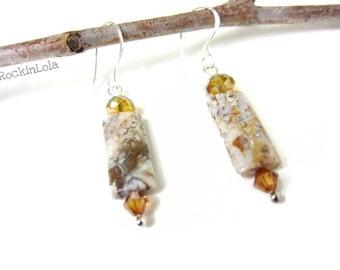 jasper earrings - swirly jasper - fancy jasper - swarovski crystal - sterling silver ear hooks - handmade by RockinLola