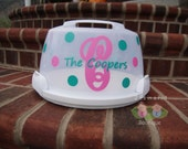 Monogram Cake Carrier Personalized Polka Dot Wilton Cake Carrier Hostess Wedding Bridal Shower Housewarming Gift
