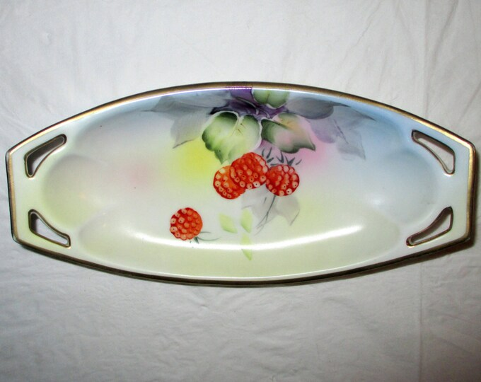 """8.25"""" Oval Nippon Hand Painted Pickle / Relish Dish, Berries, Thick Gold Trim, ca. 1890s-1910s"""