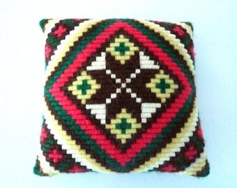 Scandinavian Pillow - Bohemian decor Vintage Swedish Hand embroidery wool cover