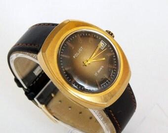 Vintage men's watch with date calendar, brown dial men's watch, gold plated mechanical wrist watch POLJOT for men