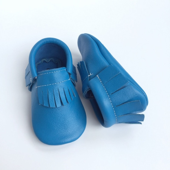 Electric Blue Baby Moccasins...blue moccs