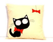 """Linen pillow with an application """"Black Cat"""". 2 pillows: with the fish and with the bow. Pick the one that you like"""