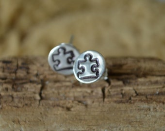 Puzzle Piece Autism Awareness Post Earrings Recycled Sterling Silver Hand Stamped Special Gift Causal Jewelry