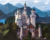 Fairy Tale Neuschwanstein Castle Oil Painting Art Print 8x10 or 8.5x11 or 11x14 inches
