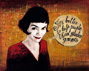 Amelie Poulain Painting Illustration Print 8x10 or 8.5x11 or 11x14 inches