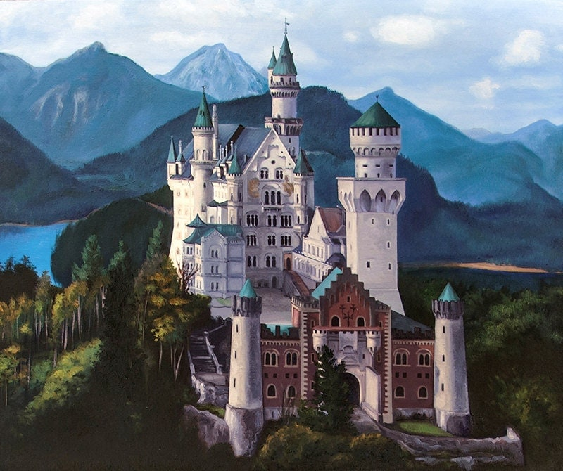 Fairy Tale Neuschwanstein Castle Oil Painting Art Print 8x10
