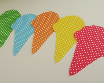 Ice Cream Cone Birthday Party Gift Tags, Ice Cream Cone Die Cuts, Ice Cream Cone Cutouts, Place Cards, Wish Tags, Summer Party Decor, Set 25