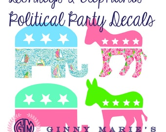 Preppy GOP decal and democrat donkey available in patterns chevron solids and much more