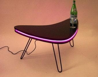 Boomerang Neon Art MidCentury Modern Design Coffee Table with Hairpin Steel Legs