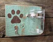 Rustic Pet Station/ PAWesome Leash & Treat Holder/ Shabby Dog Decor/ Barnwood Mason Jar Hook/ Personalized Pawprint/ Distressed Vintage Mint