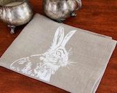 Linen Tea Towel - Rabbit Tea Towel - Dishcloth - Hand Printed Tea Towel -Bunny Tea Towel - Cujicoo Tea Towel -26 x 18 tea Towel