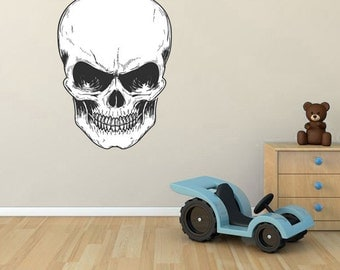 BS36 - Large removable skull wall sticker - Boys room wall decal