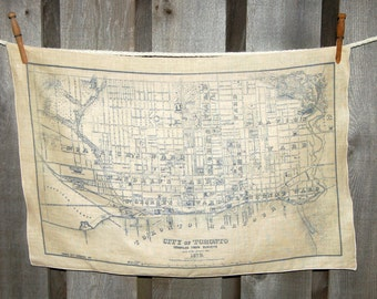 City of Toronto vintage map tea towel - FREE SHIPPING