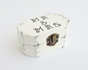 FREE SHIPPING, Wedding antique white ring bearer box / pillow, Mr & Mrs wooden ring bearer box, Pillow alternative, Wedding keepsake box