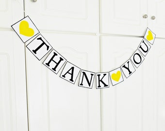 FREE SHIPPING, Thank You banner, Bridal shower decorations, Wedding banner, Engagement party, Photo prop sign, Wedding garland, Yellow heart