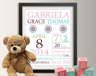 Personalized Birth Announcement, Personalized Wall Art with Baby Stats, New Baby Gift, Girl Nursery Decor, Wall Art Print, Baby Girl Gift 09