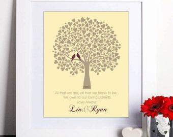 Personalized Wedding Tree Gift, Parents Thank You Gift, Mother of groom, Mother of bride, Parents wedding gift, Wedding tree art print 049