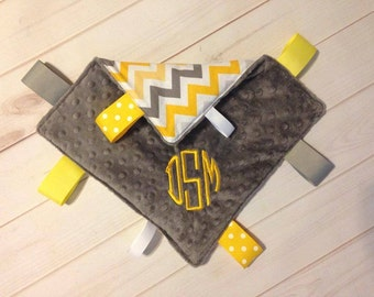 Gray and Yellow Chevron Baby Boy Security Blanket