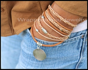 LEATHER Wrap Bracelet - Wrap Bracelets - Real Natural Distressed Leather Wrap Stamping Coin Charm Stackable Bohemian Boho Style Bracelet 721