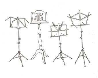 Music Stands original illustration giclee print
