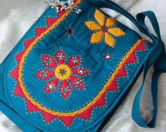 Indian Laptop Bag. Turquoise Cool, ethnic iPad, MacBook red & yellow bag. University Teen Laptop Bag. Day or evening bag. From Artkrti.