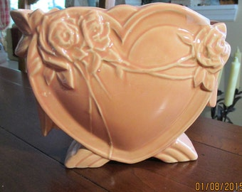 McCoy Pottery Heart Vase ~ Salmon or Peach ~ c1940s