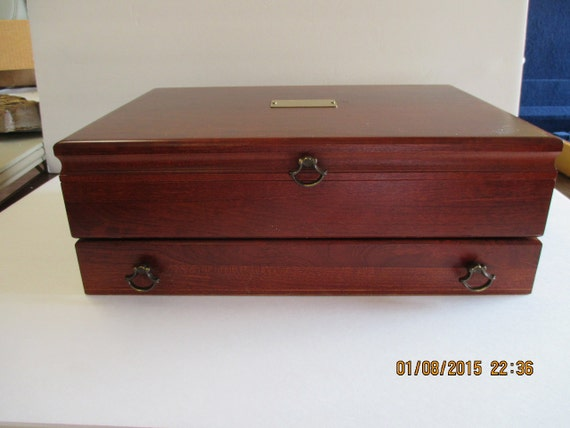 Vintage silverware flatware mcgraw storage chest box by for Box for flatware storage