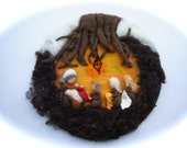 Mother earth,root child,Picture,tapestry,Wet felted,Needle Felted. Waldorf.Winter,Spring.