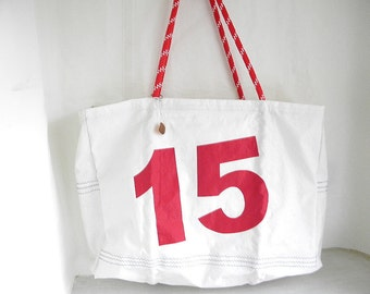 XXLG JUMBO handmade Sail Number 15  Zippered top Beach Bag from Recycled Sail