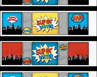 Superhero Water Bottle Labels INSTANT DOWNLOAD, Printable File--Super Water